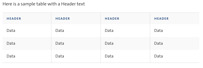 table with header text