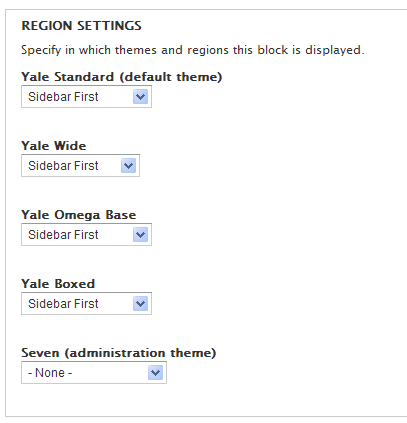 Block Region settings admin interface