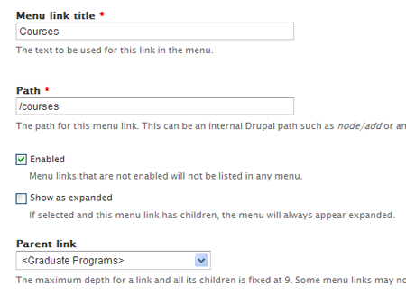 Assign Parent menu link