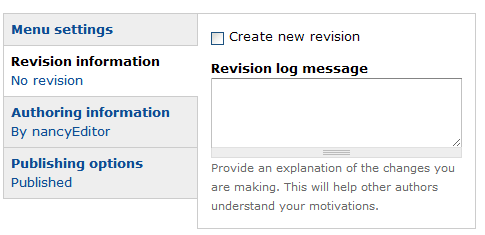 Revision Information - create a new revision