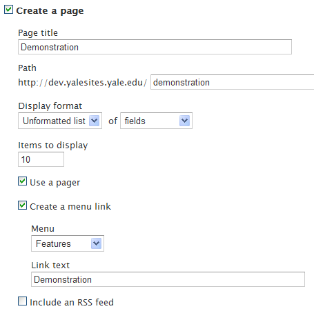 Create a page display