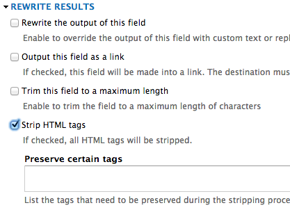 Uncheck Strip HTML Tags
