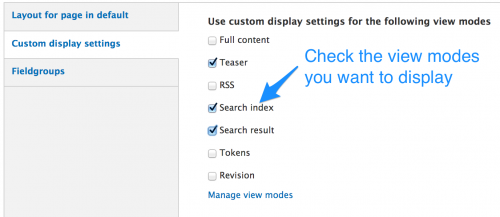 View modes - custom display settings