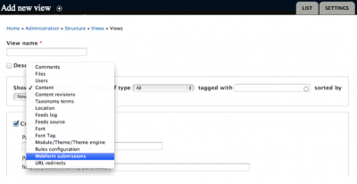 Add new View with Webform
